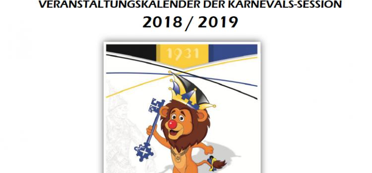 Die Veranstaltungen aller Karnevalsgesellschaften in der Session 2018/19